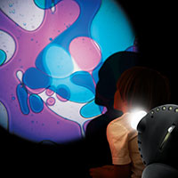 Sensory projector with child violet blue