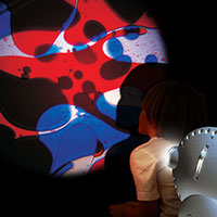 Sensory projector with child blue red