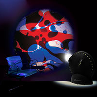 Sensory projector with chair blue red